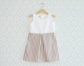 Girl Dress, Toddler Striped dress, White and brow striped Dress for little girls, Sleeveless baby dress