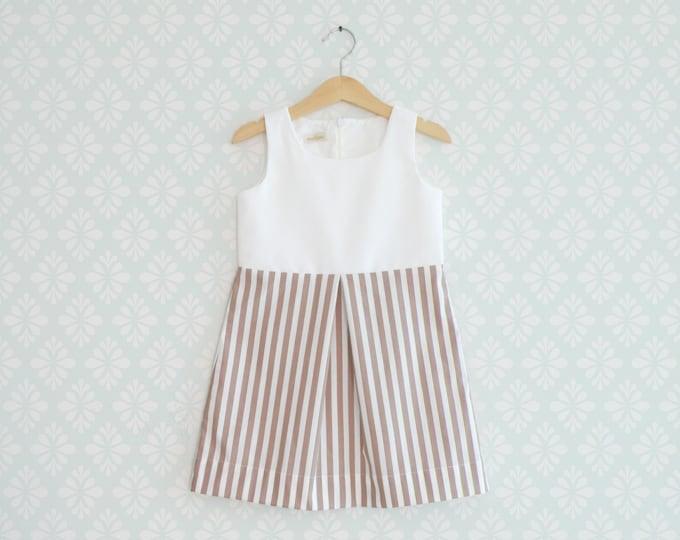 Girl Dress, Toddler Striped dress, White and brow striped Dress for little girls, Sleeveless baby dress