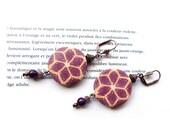 Purple geometric flower earrings, polymer clay millefiori pattern, Boho ethnic chic long earrings, purple pink orange, artisan made jewelry