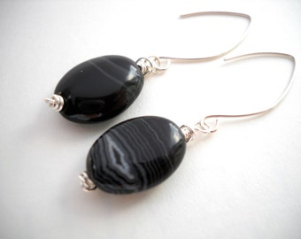 Black banded agate sterling silver earrings: Slowly in the Dark - black agate, black silver earrings, wire wrapped, black earrings, simple