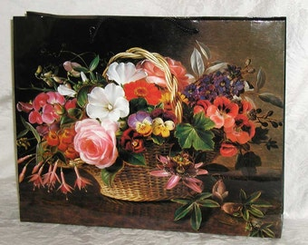 1980s Large Paper Shopping Bags With 19th Century Danish Floral Art  Reproductions - 2 Bags Included