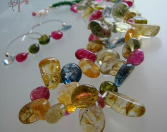 Dyed Quartz, sterling silver, multicolors, Adjustable necklace, dangle earrings.