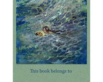 Little Mermaid Bookplates - Pack of Ten - Edmund Dulac Illustration