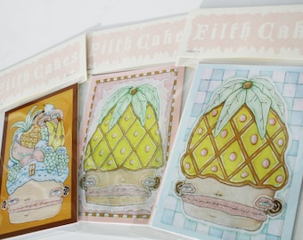 Pack of Four Colorful Postcard Art Prints - Pineapple, Cactus, Lady in a Fruit Hat