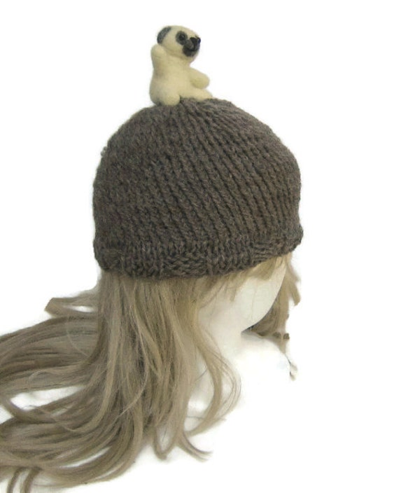 Knitting Pattern For Pug Hat : Pug Hat needle felted animal pug hat needle felted
