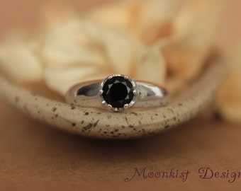 Black Spinel Bold Solitaire in Sterling - Silver Black Spinel Engagement Ring, Commitment Ring, or Promise Ring - Diamond Alternative