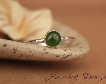 green jade bezel set silver solitaire bridal ring jade stacking promise engagement ring jade - Jade Wedding Ring