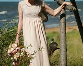 Dusty pink, sand silk chiffon,viscose, lace bridal gown, maternity wedding dress empire cut- made by your measurments