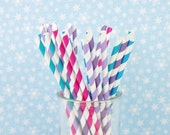 FROZEN Birthday Party Jewel Toned Paper Straws - Set of 25 Straws - Aqua, Purple and Silver - First Birthday