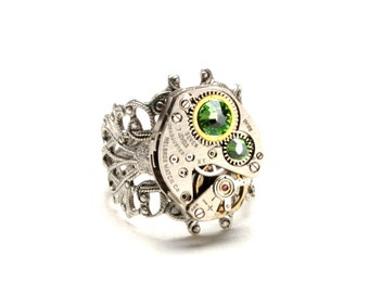 AUGUST Steampunk Ring PERIDOT Steam Punk Jewelry Steampunk Watch Ring Birthstone Ring Victorian Steampunk Jewelry by Victorian Curiosities