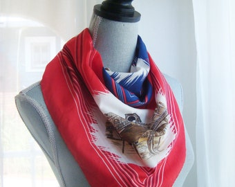 Lovely Venice Italy Souvinir Scarf in Red and Blue