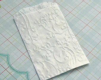 20 Glassine Bags Embossed Flourish Vines 3.25 x 4.75 inches