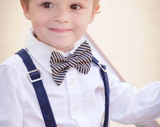 Linen Ring Bearer Outfit; 3 Piece Set Linen Pants, Cotton Bow tie and Suspender Outfit handmade by TwoLCreations