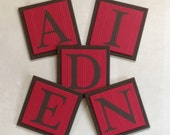 Red and Brown Baby Boy Nursery, Name Wall Letters Room / Wall Decor, 6 x 6 Personalized Wooden Plaques, Custom Children's Gift Ideas