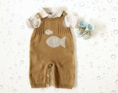 Knitted overalls in camel with fish, booties in blue. 100% cotton. READY TO SHIP size newborn.