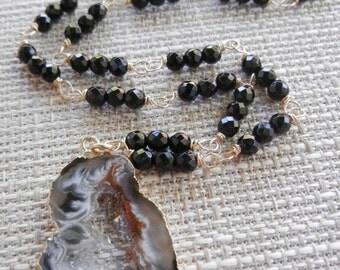 Black Druzy Pendant, Gold Dipped Druzy Pendant, Black Onyx Gold Necklace, Druzy Rosary Necklace, Black Natural Pendant, Organic Stone