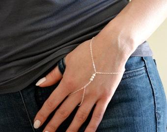 Sterling Silver finger bracelet, hand chain harness, slave bracelet, delicate bracelet shimmering beads, dainty sterling silver boho jewelry