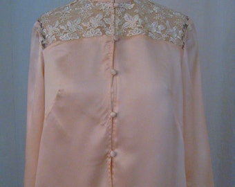 SALE-Mandarin-Collar Blush Pink Silk Charmeuse Blouse with Lace Yoke and Hi-Low Hem, 3/4 Sleeve length