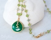 Ethiopian Opal Necklace - Green Onyx Pendant - Period Necklace - Personalized Necklace - Wire Wrapped March Necklace