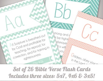 Set of 26 ABC Scripture Bible Verse Memory Flash Cards for Kids - Instant Download - Printable - Includes 3x5, 4x6, and 5x7 sizes!