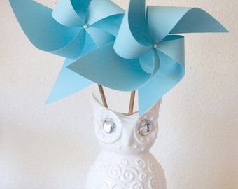 Adorable Pinwheels! Wedding Favors Decor Birthday Favors - 6 Large Chevron Paper Pinwheels
