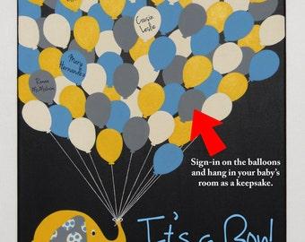 Elephant Baby Shower Sign in Alternative Baby Boy Hand Painted Custom