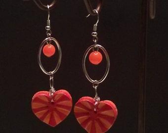 orange red heart earrings dangle heart earrings handmade heart earrings quirky earrings lightweight dangle earrings bright earrings