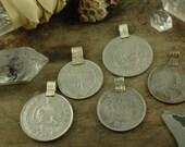 Vintage Kuchi Coin Pendants, Large, Nomadic, Gypsy, Boho Decor, Jewelry Making, Sewing Supply, Tribal Fringe, Adornment, 10 Pendants