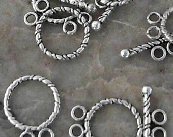 Tibetan Antique Silver 12mm Round Toggle Clasps               CC-80814