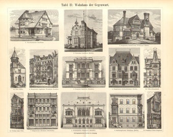 1897 Antique Engraving Print of 19th Century Dwelling Houses