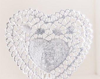 80 Lovely HEART Doily - Silver