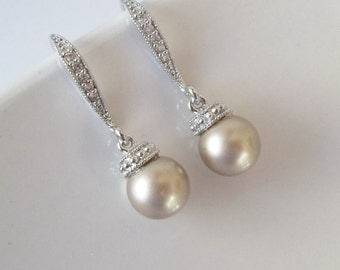 Pearl Bridal Earrings,Swarovski Pearl Earrings,Pearl Drop Earrings,Cubic Zirconia,Bridesmaid Earrings,Champagne Pearl Earrings