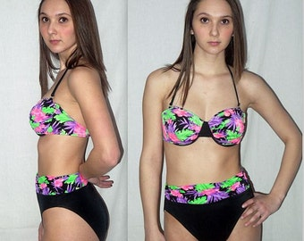 Tropical tease .... Vintage 80s bikini / high waist waisted cut legs / 1980s 2 pc piece swimsuit bathing suit / neon floral .. S M