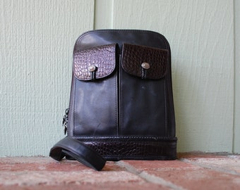Vintage Brighton Leather Purse Shoulder Bag Handbag Single Strap Backbag Boho Moto Biker Southwestern Hipster Crossbody Aztec Fall Autumn