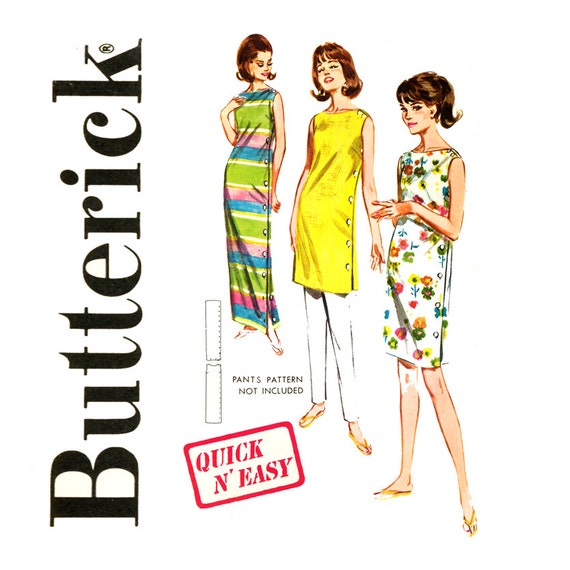 1960s Side Button Shift Dress Pattern Bust 36 Butterick 2675 Maxi Dress Tunic Day Dress Bateau Neck Quick N Easy Vintage Sewing Patterns
