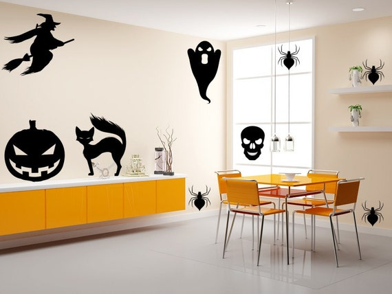 Witches Ghosts Black Cats Spiders and Skulls Halloween Decals Halloween Decor Stickers