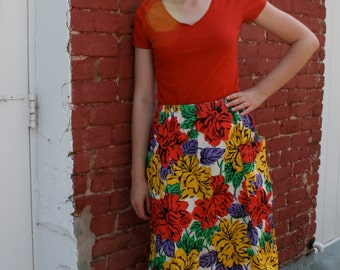 1980s Bright, Bold Floral Gathered Midi Skirt
