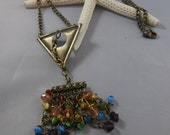 Colorful Rainbow and Brass Charm Necklace