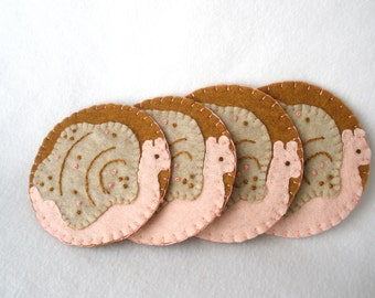 Pink Snail Felt Coasters, Pink and Brown Great Sea Snail, Hostess Gift,  MugMats Set of Four