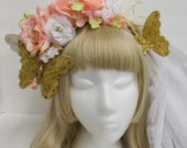 Pink and White Butterfly Headdress and Veil Set