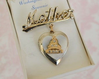 Vintage 'Mother' Washington DC Souvenir Locket Brooch