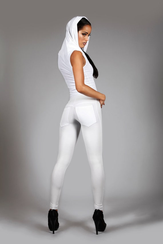 White Jeans Back Leggings Matte Leather Spandex Pants Glam