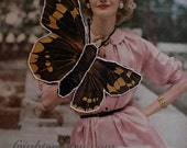 Mixed Media Collage, One of a Kind Paper Collage with Hand Embroidery, Woman with Butterfly