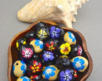 Loose Kukui Nuts with Hand Painted Hibiscus- Choose your Colors!