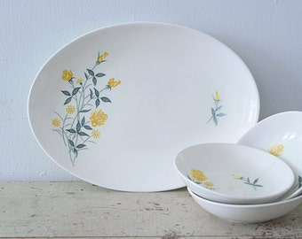 Adorable 4 piece Set with One Serving Oval Plate and 3 Small Bowls with Yellow Flowers - Yellow Rose