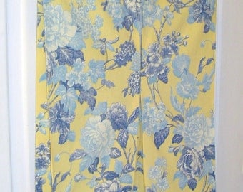 Sunshine yellow and blue floral hanging hamper