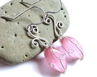 Elven Charm Earrings - Elegant Swirl Silver Wire Wrapped and Choice of Color Fiber Optic Cats Eye Bead