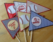 Set of 6 Personalized Flag Centerpieces: Vintage Baseball- Table Decorations, Pennant Centerpieces, Triangle -Baby shower -Birthday