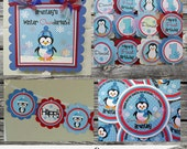 Fabulous Mini Birthday Party Package -Red and Blue Penguin -Baby Shower -Birthday-Banner -Tags -Cupcake Toppers -Party Sign