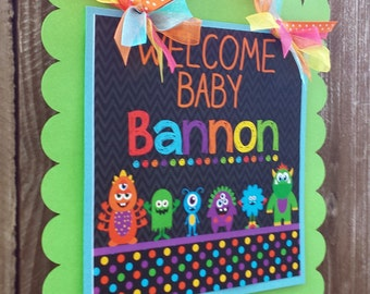 Monster Bash Collection Door Sign, Party Sign, Hanging Sign -Monster Party -Baby Shower -Birthday